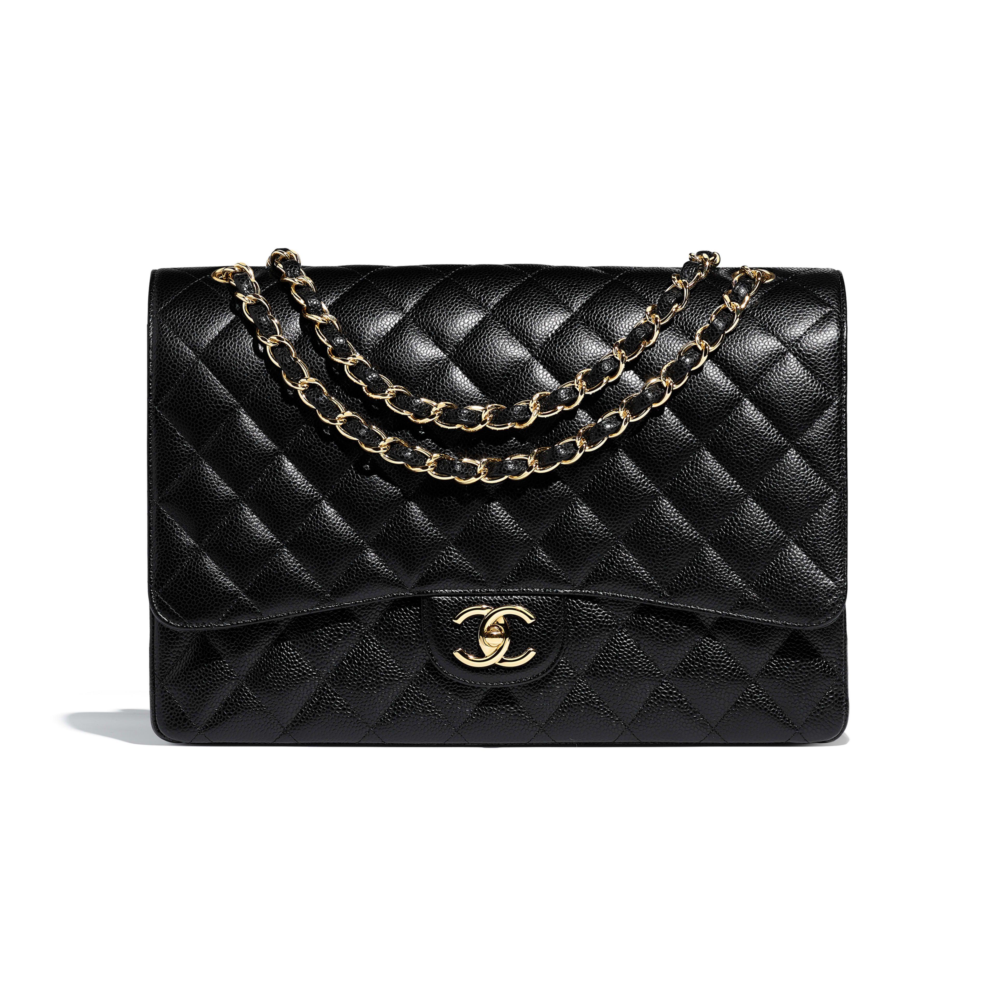 740fd9a5d1 Aged Calfskin   Gold-Tone Metal Black Large Shopping Bag
