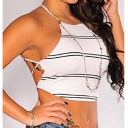 Jewel Neck Striped Backless Crop Top For Women .
