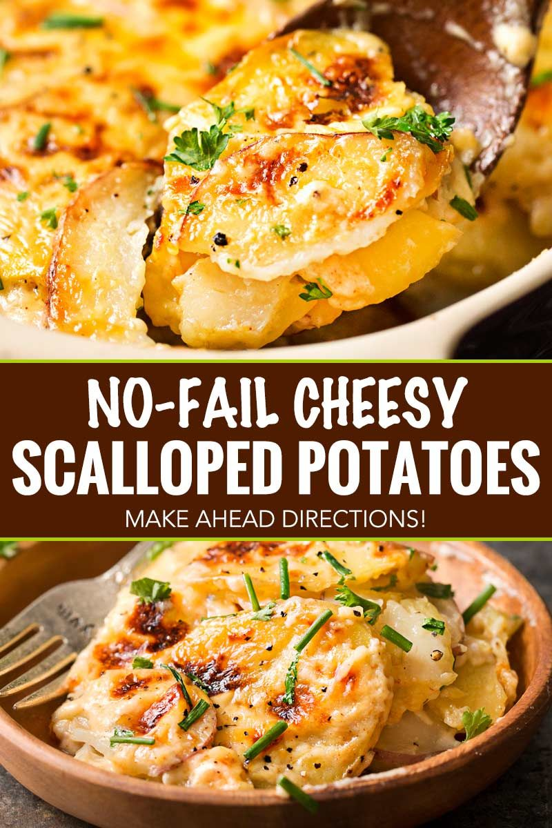 Velvety soft and tender layers of two kinds of potatoes, smothered in a rich 3 cheese garlic sauce,