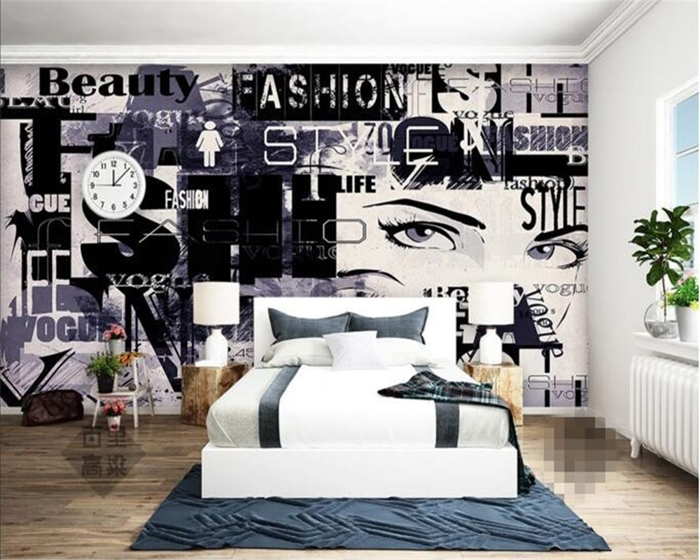 Beibehang Abstract graffiti beautiful fashion wall murals living ...