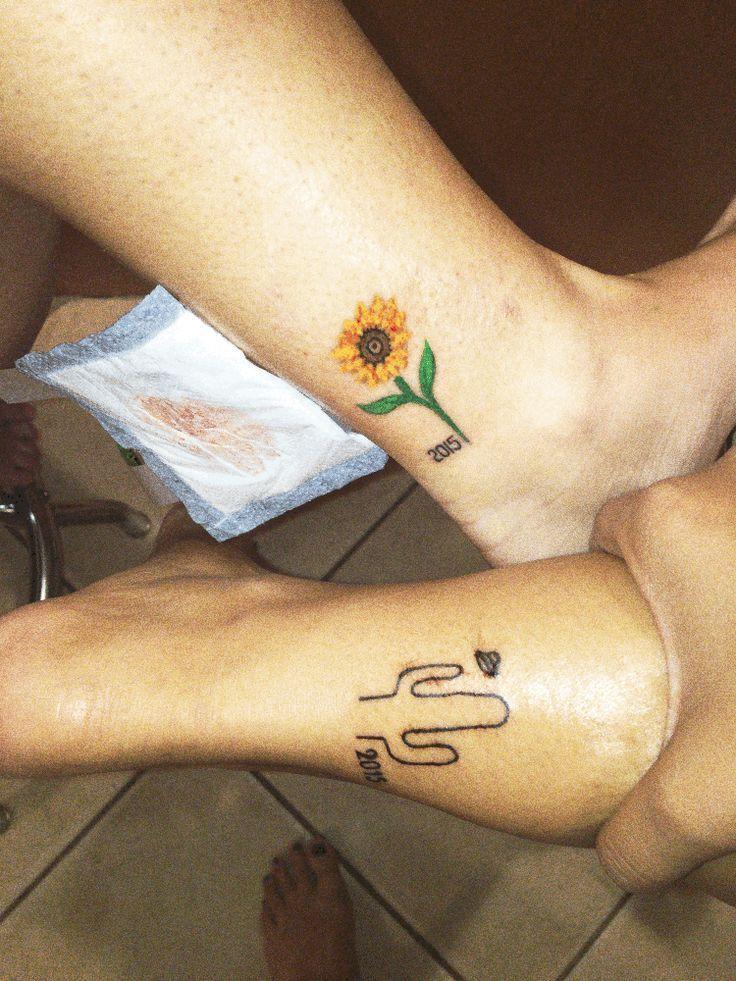 Best friend tattoos #small #bestfriend #sunflower #cactus #tattoo #matchingtatto… – Modern - Modern