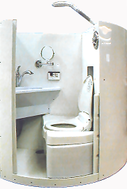 OMG this would be so awesome for Lora.  It's like an RV bathroom.