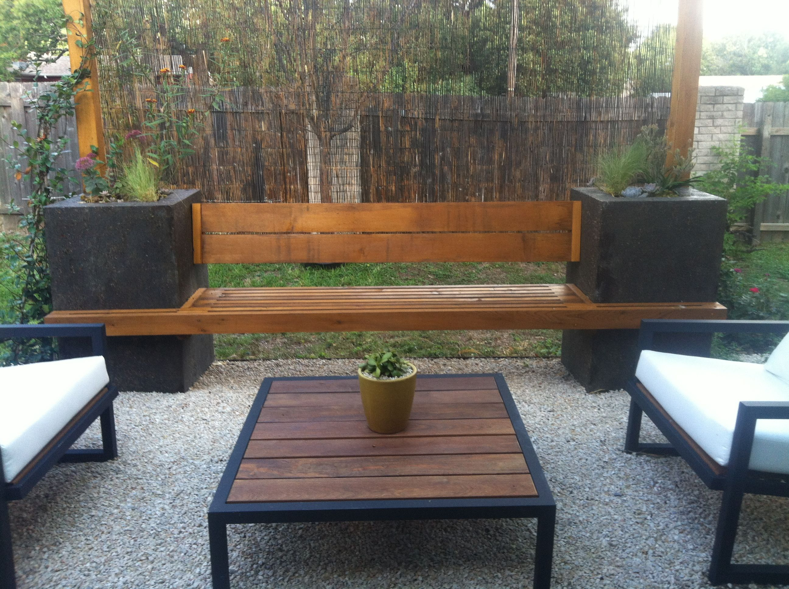 Concrete Bench Ideas Part - 27: Small, Crushed Limestone Patio Area With Stained Concrete Bench With Built  In Planters