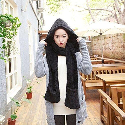 e4e39b8aafa Losuya Winter Warm Women Hoodie Gloves Pocket Earflap Hat Long Scarf Shawl  Snood Wraps Fashion Scarfs (Black). More description on the website.