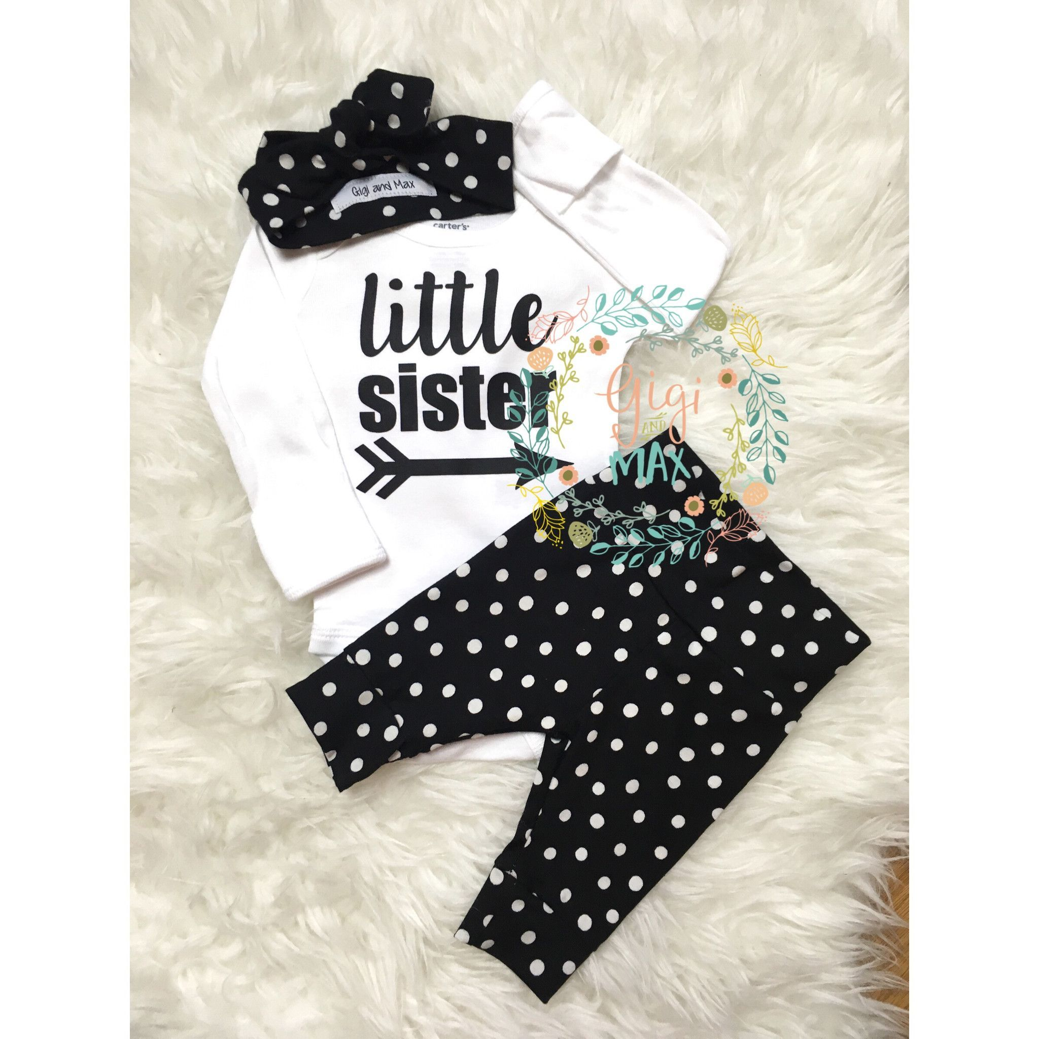 ec1013a26ae31 Little Sister newborn outfit large polka dots | Baby Clothes - Gigi ...