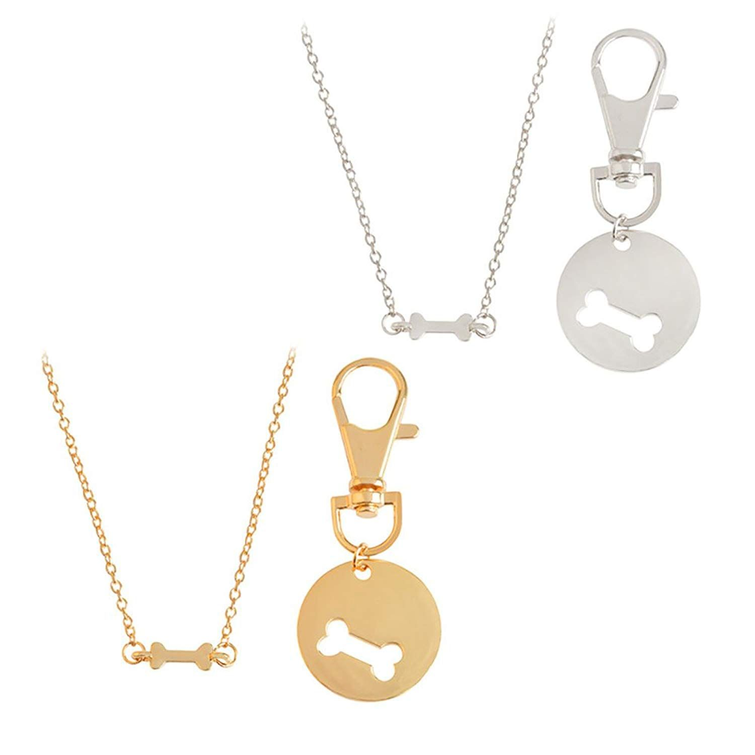 2a58f472c77 Meiligo Fashion 2 Pcs Best Friends Friendship Gold Silver Dog Bone Charm  Tag Necklace Key Chain Owner and Dog Jewelry matching Pet Collar Key chain  Pendant ...