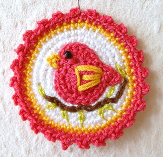 Crochet Applique Bird Small Cotton / Pink - Yellow. €4.20, via Etsy ...