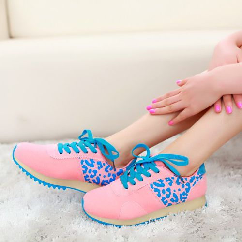 Casual Round Toe Closed Basic Low Heel Pink Suede Sneakers(US$13.99)