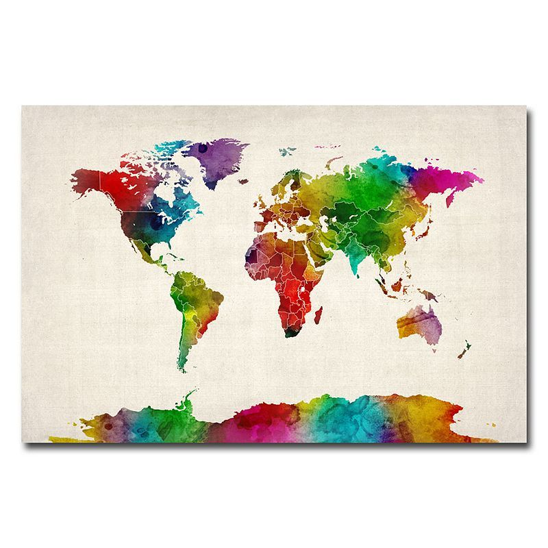 Kohls water color world map ii canvas wall art products vibrant watercolor world map gallery wrapped canvas by michael tompsett gumiabroncs Gallery
