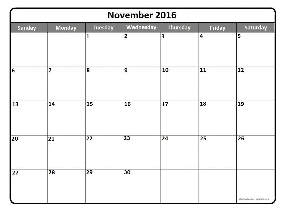 November 2016 free printable calendar | 2017 Printable calendars ...