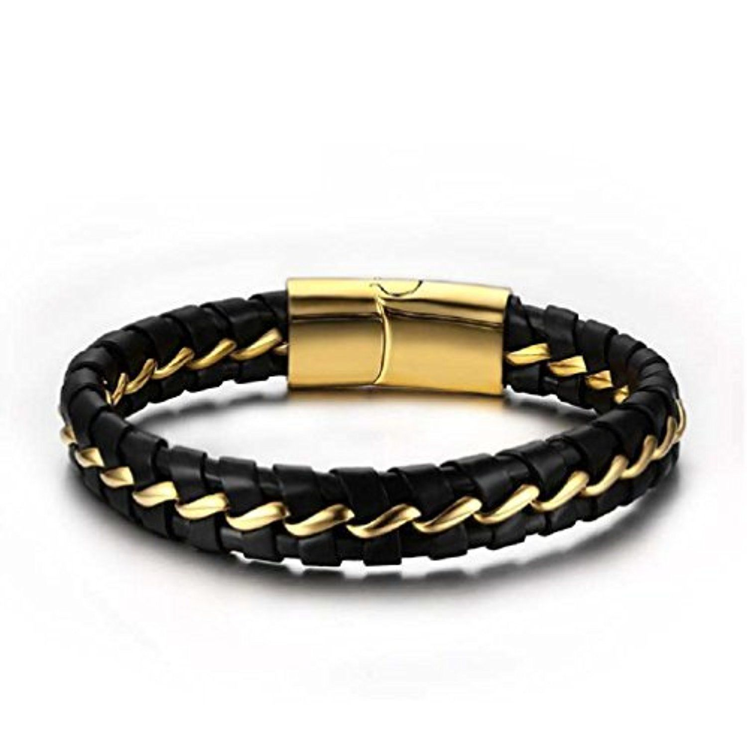 Topdamenus stainless steel gold plated genuine leather black