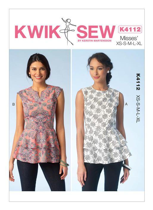 K4112 | Misses\' Tiered Peplum Tops Sewing Pattern | Kwik Sew ...