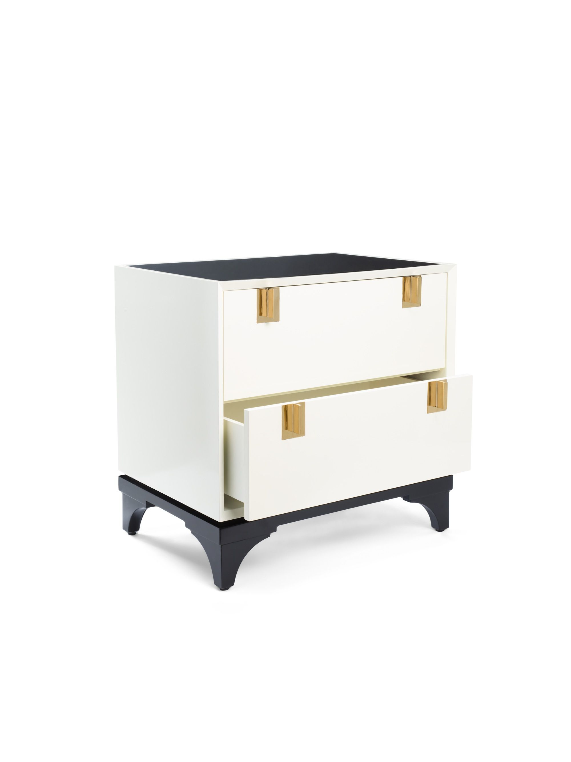 we believe that, no matter how functional, every piece in your home should have personality. like this glossy white chest with brass accents--it's a place to display curiosities and treasures acquired near and far (and tuck away the rest).