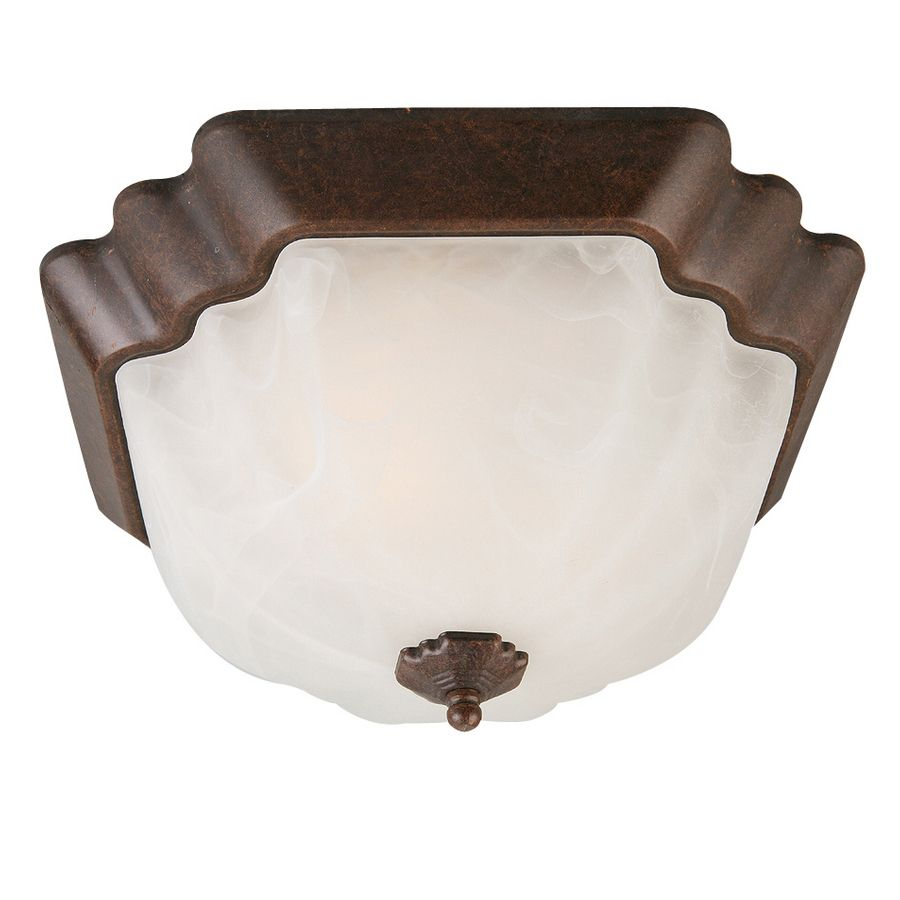 Shop Project Source 13 In W Bronze Integrated Led Ceiling: Portfolio 13-in W Rustic Brown Flush Mount Light
