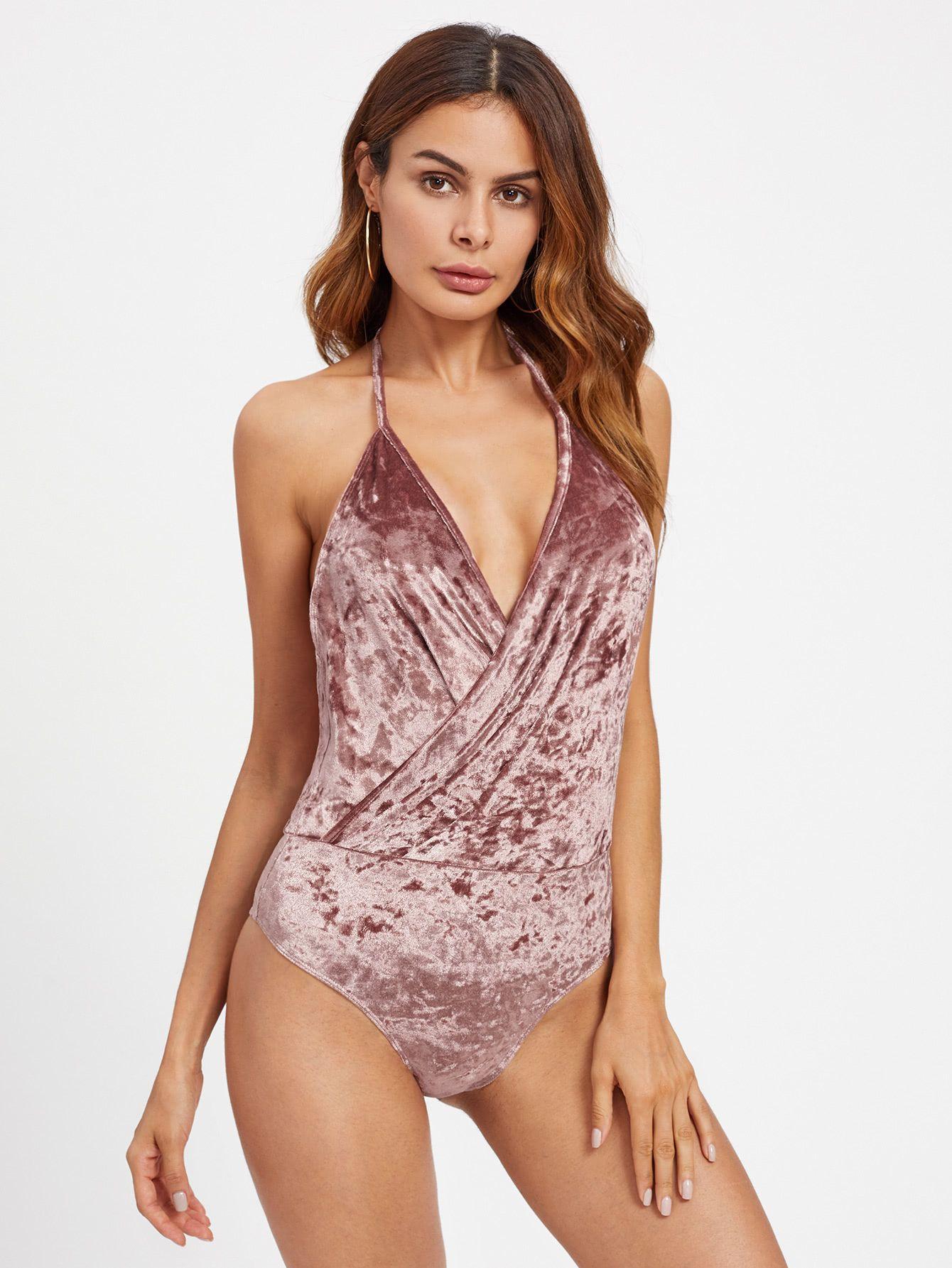 9fbc8ad740 Shop Open Back Surplice Halter Crushed Velvet Bodysuit online. SheIn offers Open  Back Surplice Halter Crushed Velvet Bodysuit & more to fit your fashionable  ...