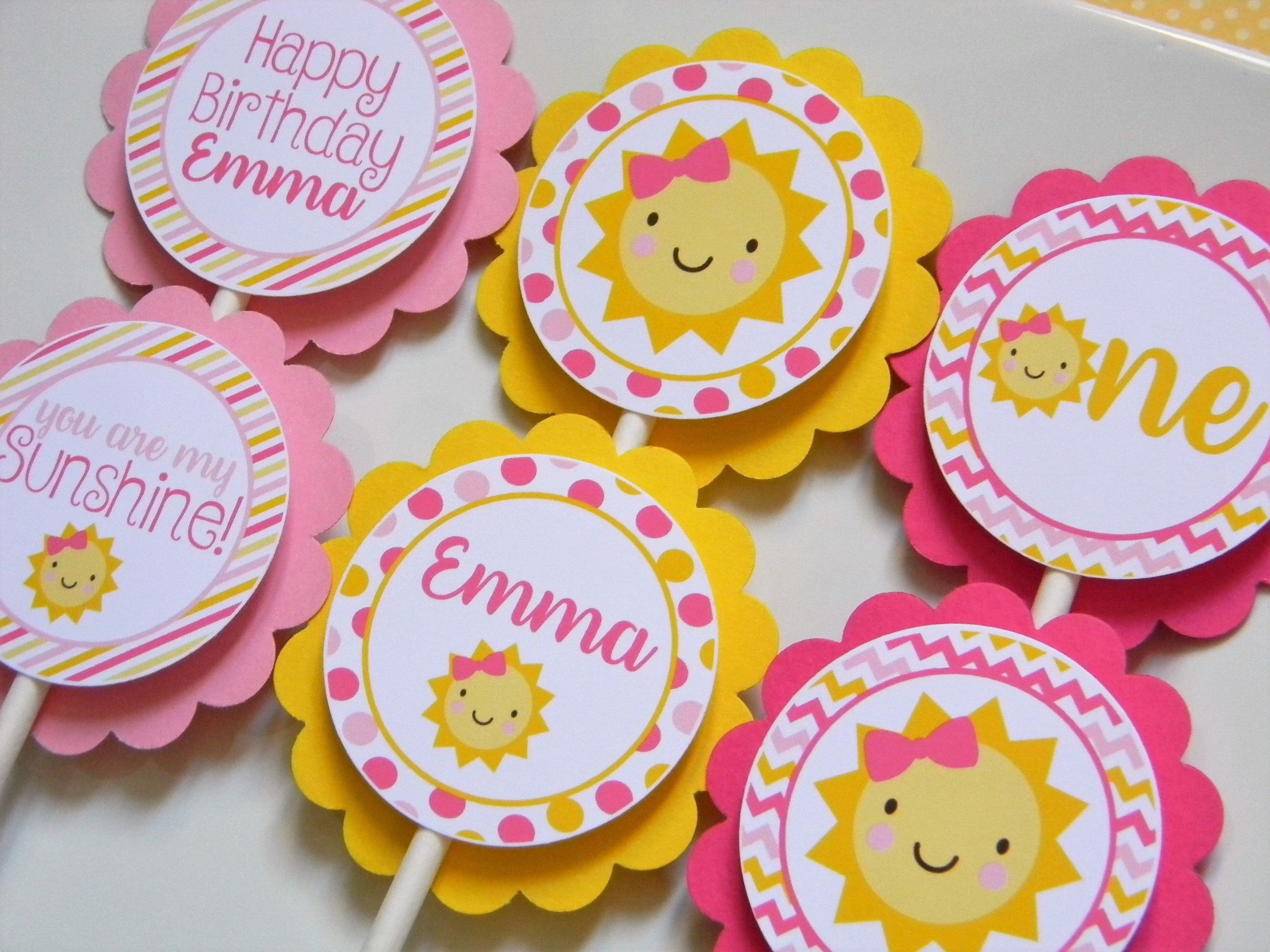 You Are My Sunshine Cupcake Toppers, Sunshine Party Decorations, Sunshine