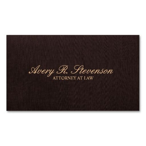 Simple Classic Attorney Dark Brown Linen Look Business Card Template