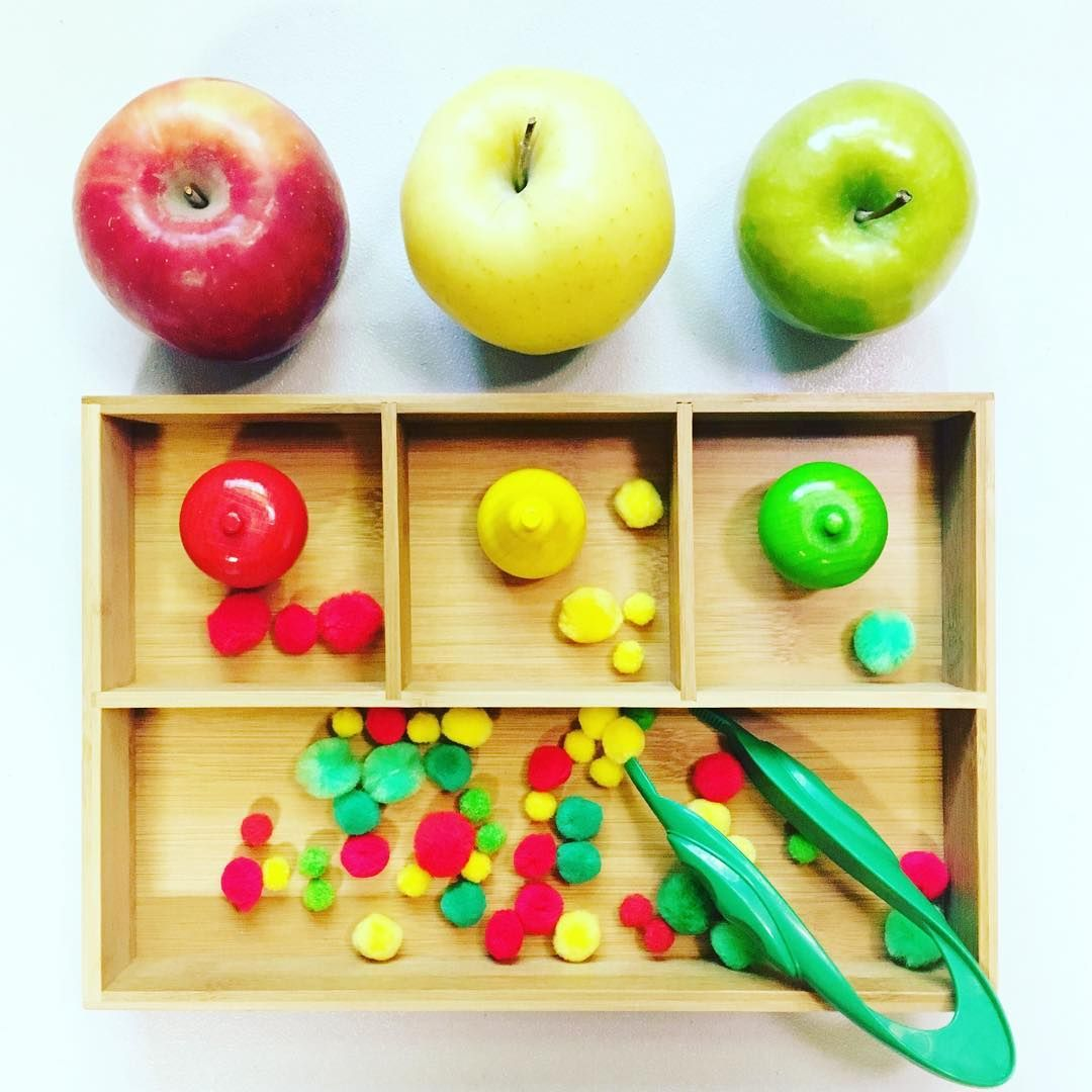 A Is For Apple Pom Pom Apple Counting Color Sorting