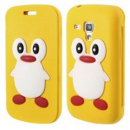 Galaxy Trend keltainen kannellinen pingviini silikonisuojus.