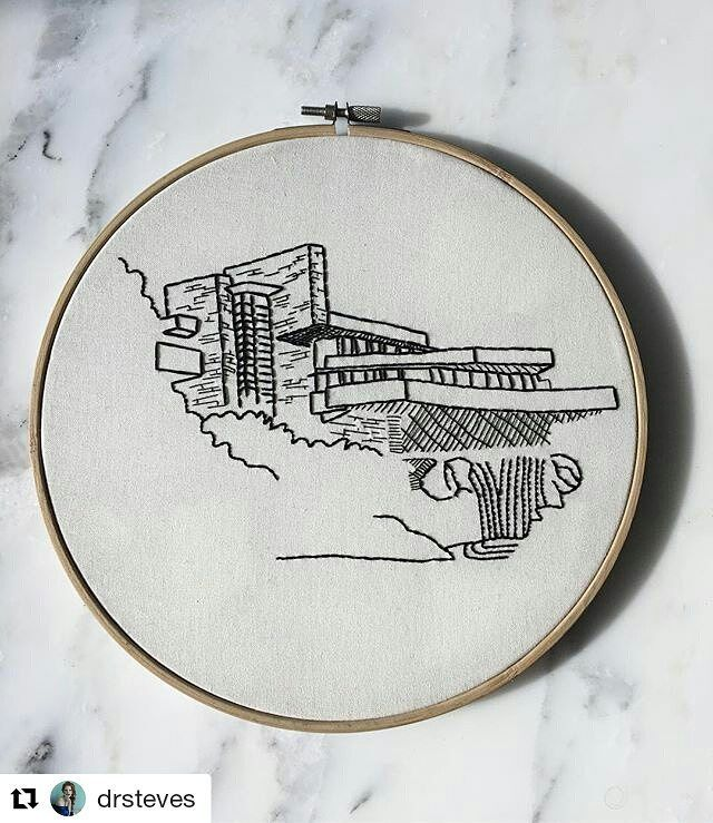 Can't decide which I like more. This #handembroidery or @drsteves accompanying question. #regram  Is there sex after death? #embroidery #architecture #hoopla #blackandwhite #franklloydwright #creativityfound #mrxstitch via The Mr X Stitch official Instagram  Share your stitchy 'grams with us - @mrxstitch #xstitchersofinstagram #mrxstitch