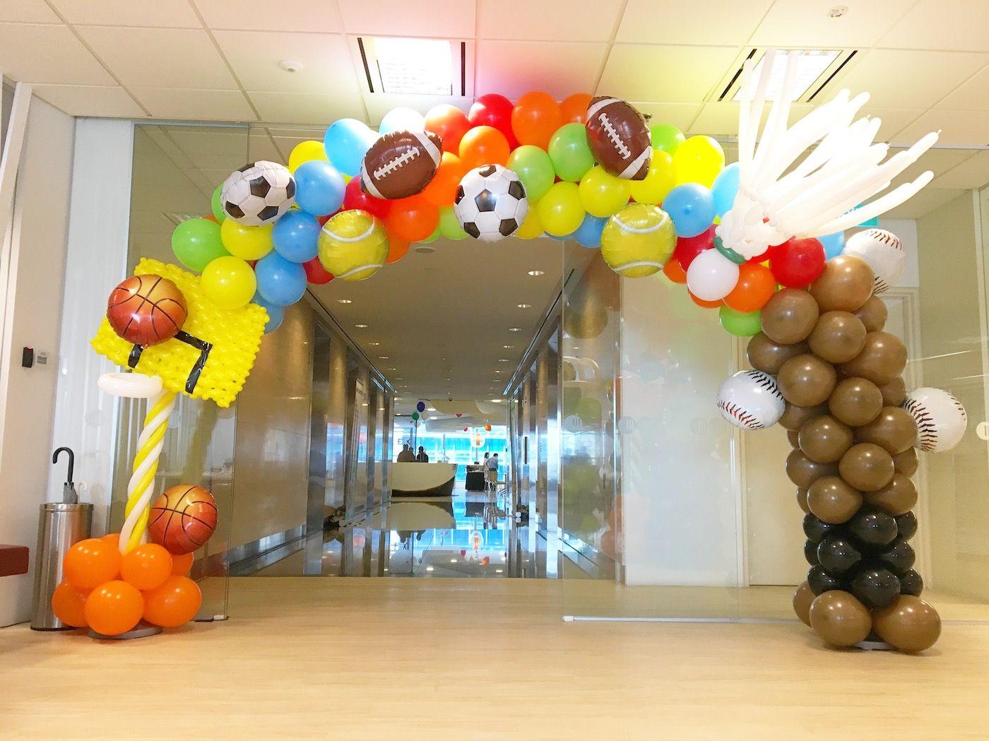 sports theme balloon arch THAT Balloons sports theme balloon arch THAT