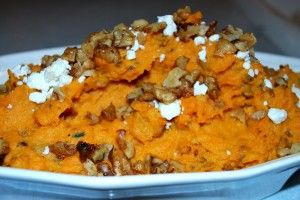 Looking for some new Sweet Potato recipes? Try this sweet potato with caramelized onions and goat cheese or one of the other great recipes in the linked round up from our writers. #recipes #sweetpotato