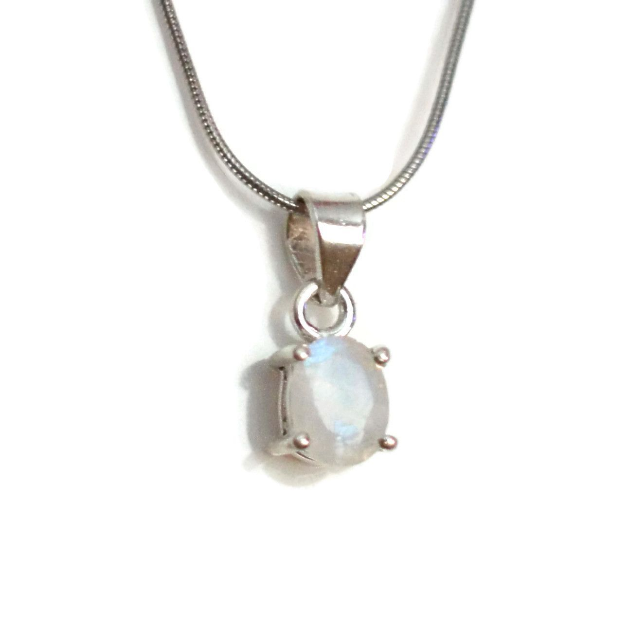 Small rainbow moonstone sterling silver oval pendant necklace