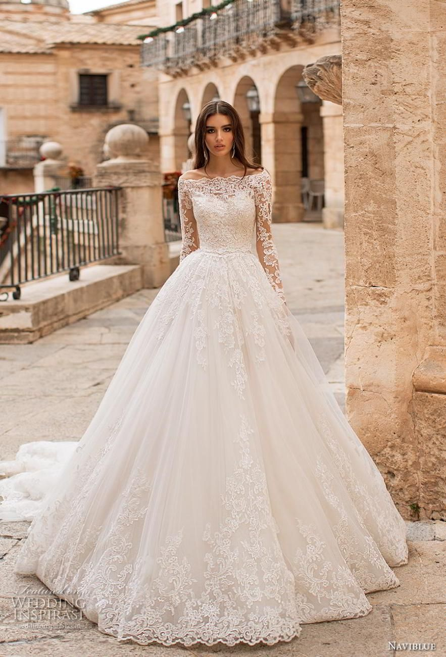 5b0d9c852df naviblue 2019 bridal long sleeves off the shoulder becjlie heavily  embellished bodice hem princess ball gown a line wedding dress lace back  royal train (12) ...
