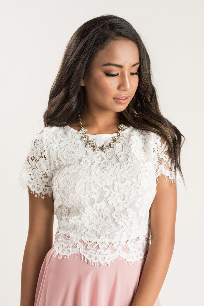 4031253271a4d3 Shop the Ellie White Short Sleeve Lace Top - boutique clothing featuring  fresh