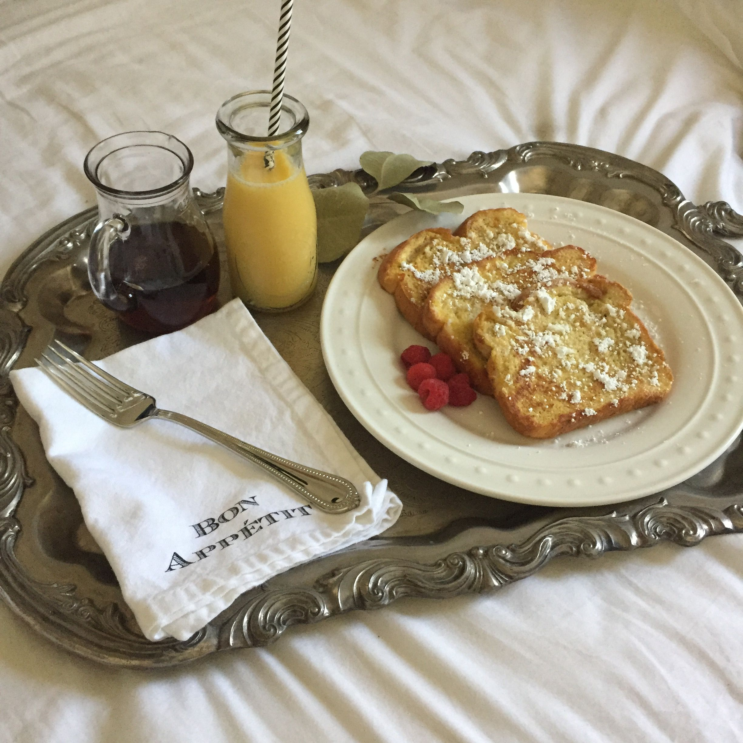 Simple Breakfast In Bed Antique Silver Tray With Images Breakfast Easy Breakfast Breakfast Tray
