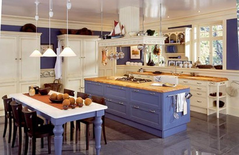 Kitchen : Marvelous Kitchen Design With Soft Purple Wooden Countertop Ideas  Unusual Cabinets Mediterranean Style And