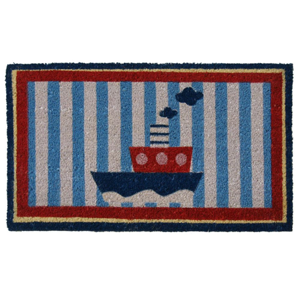 Rubber Cal U0027Welcome Aboardu0027 Coir Nautical Door Mat (Blue), Black