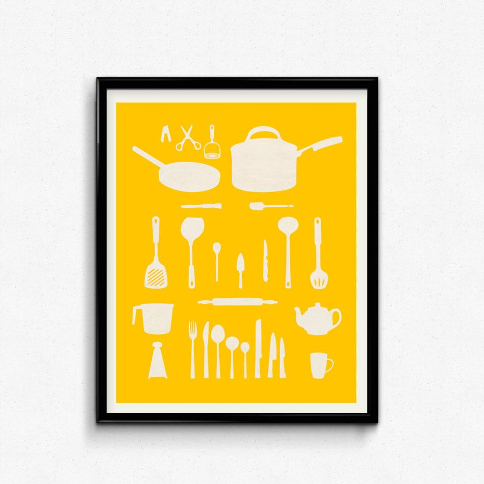 Kitchen decor Gift for mom Typography print Retro kitchen art ...