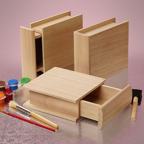 New Wooden box unfinished Paulownia wood open like small Drawer Resemble hardcover book Stack or Store & New Wooden box unfinished Paulownia wood open like small Drawer ... Aboutintivar.Com