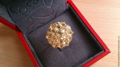 """""""Harmony"""" - очаровательное кольцо с нежными цитринами - жёлтый,цитрин бразилия"""
