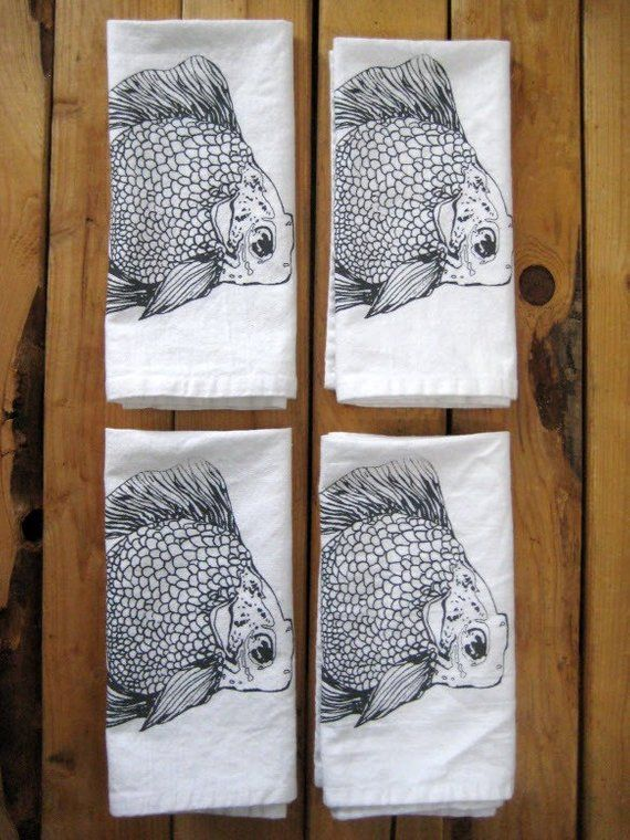 Cloth Napkins - Screen Printed Cloth Napkins - Eco Friendly Dinner Napkins - Goldfish - Handmade - T #clothnapkins