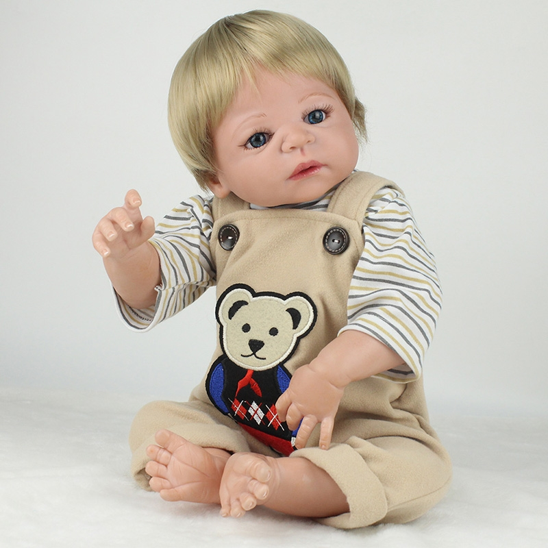 88.33$  Watch here - http://alik2b.worldwells.pw/go.php?t=32715828457 - 55cm full body silicone reborn dolls  Lifelike Reborn Babies blond hair wig blue eyes girl boy dolls toys children gift  bonecas