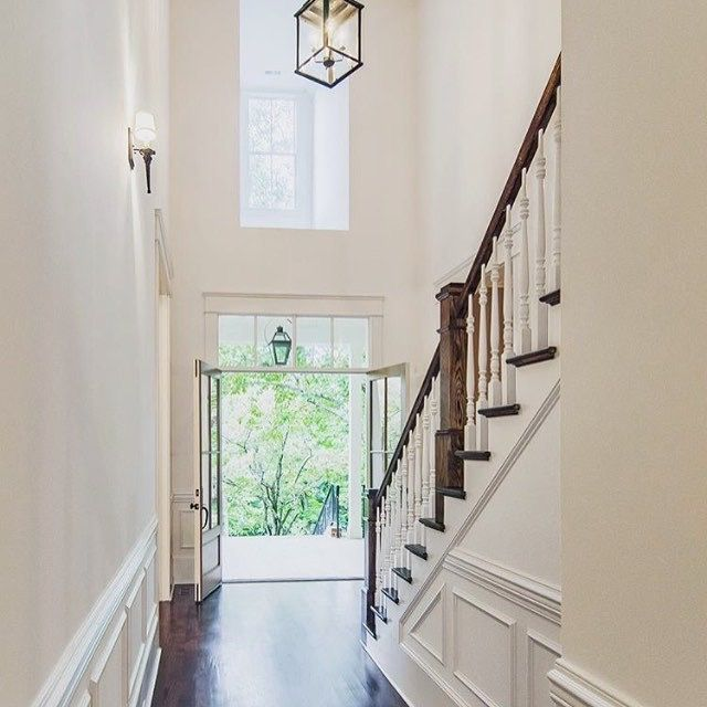 Elegant Foyer Stair Wraps A Paneled Two Story Entry Hall: 6 Astounding Ideas: Oak Wainscoting Foyers Wainscoting