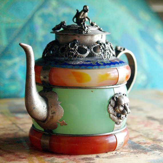 teapot found similar piece for sale on ebay identified as a 19c Chinese Silver Cloisonne Peking Glass Teapot