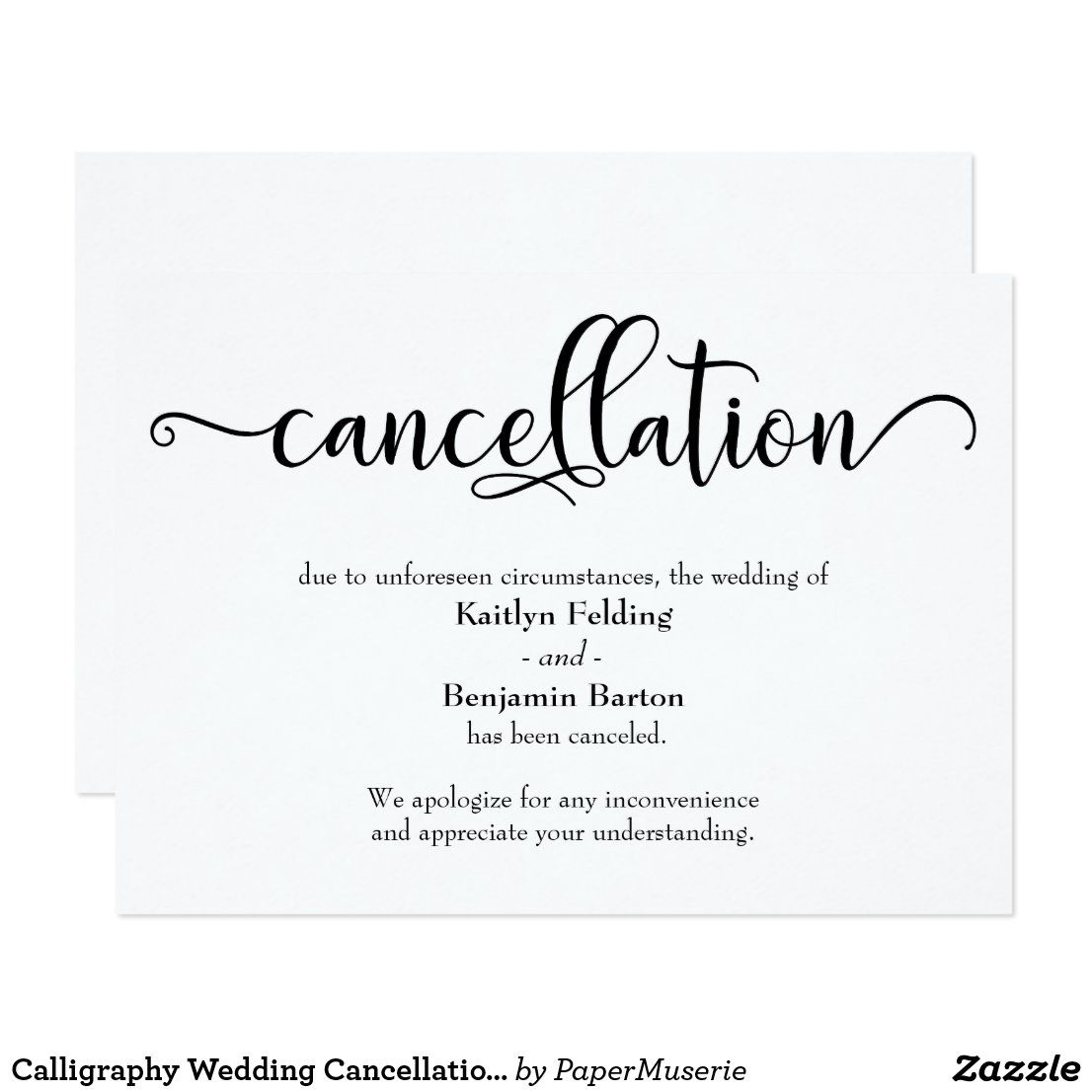 Calligraphy wedding cancellation announcement card