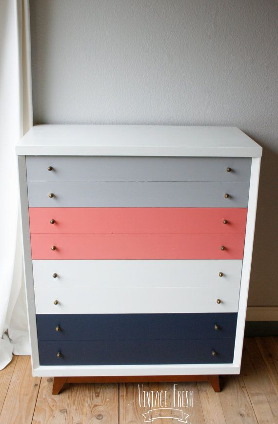 Mid Century Modern Tallboy Painted Color Block By VintageFreshShop, $350.00  For The Master