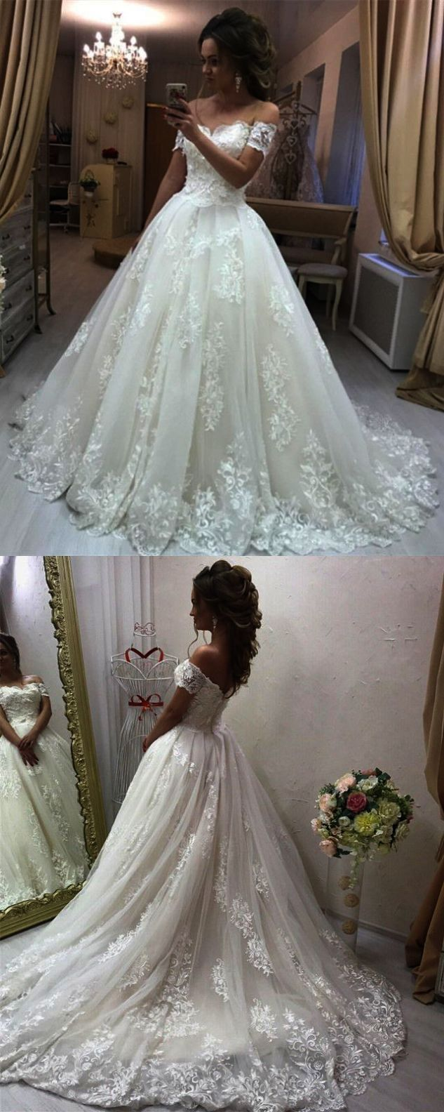 Lace sweetheart wedding dress long sleeve lace applique mermaid