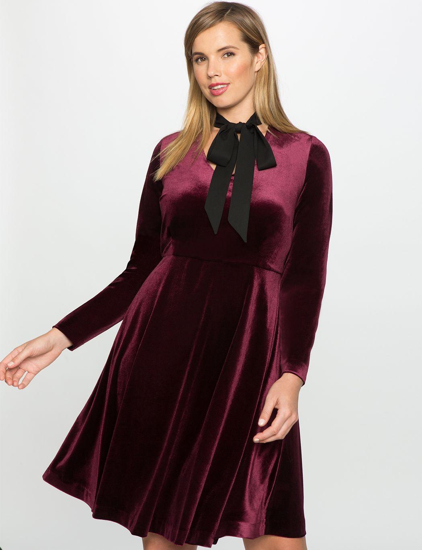 Studio Velvet Fit and Flare Dress Malbec