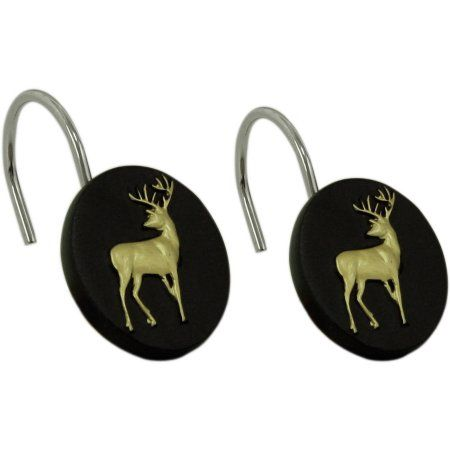 Bacova Guild White Tail Deer Shower Curtain Hooks Brown