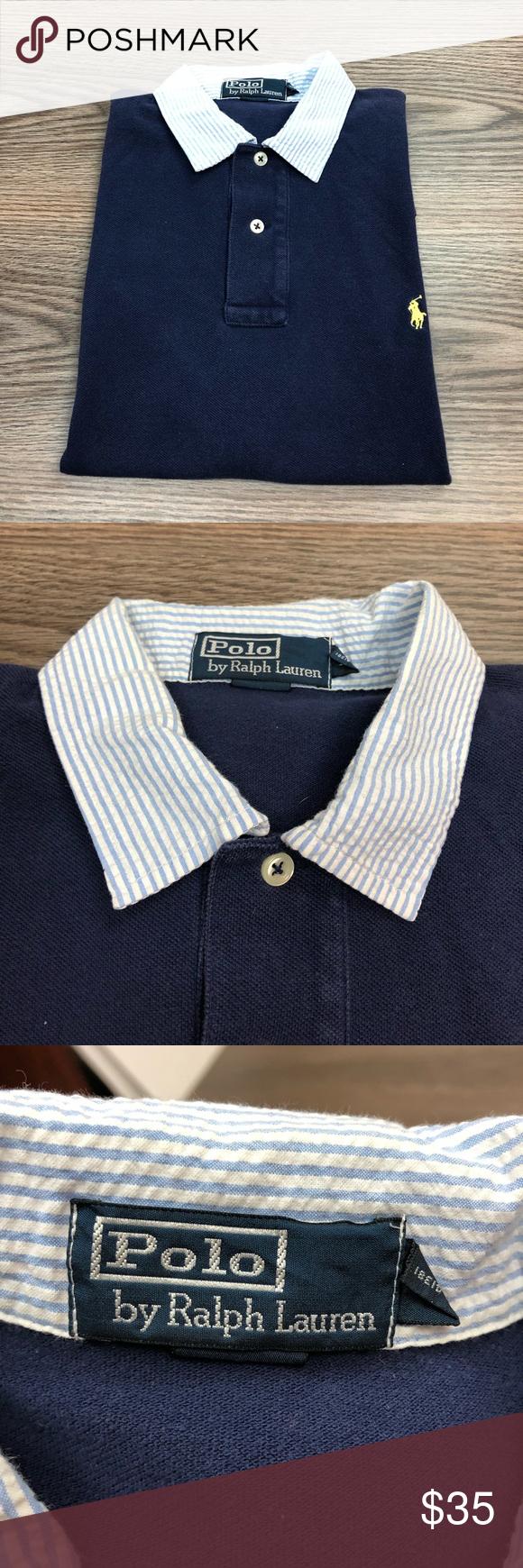 Polo Ralph Lauren Navy Seersucker Polo Shirt L Polo Ralph Lauren