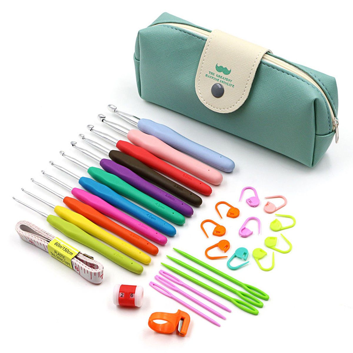 45Pcs//set Ergonomic Crochet Hooks Set with Rubbery Handles Knitting Needles Kits