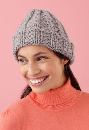 Crafts Lion Brand® Yarn Roving Wool Loom-Knit Cable Hat and Wristers