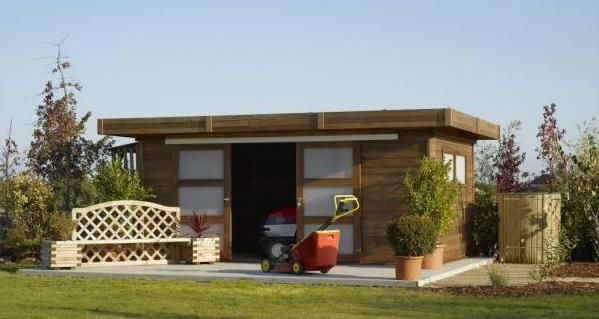 Abris bois toit plat durapin chalet pinterest for Abris de jardin toit plat belgique