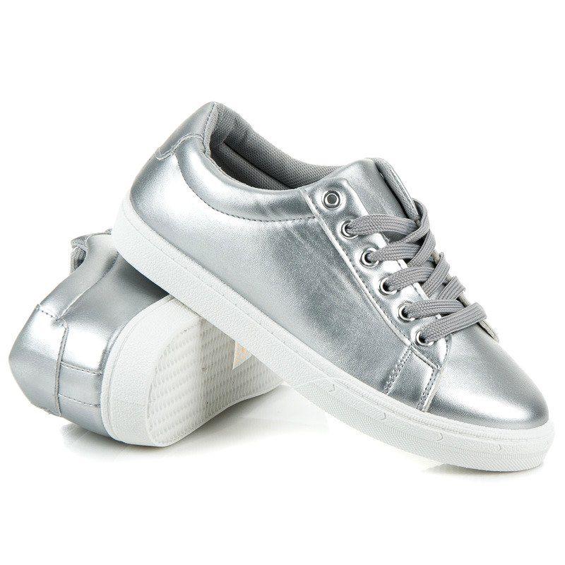 Srebrne Trampki Z Fredzlami Szare Shoes Fashion Sneakers