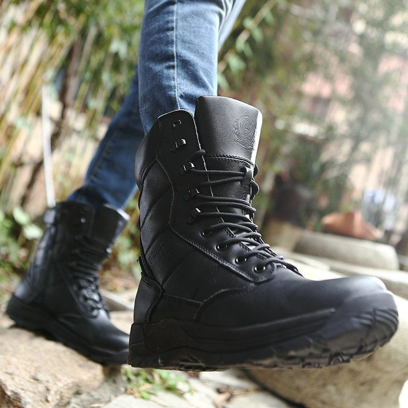Women Police Tactical Boots High Quality Army Botas Black Genuine Leather  Outdoor Shoes Size 36 to